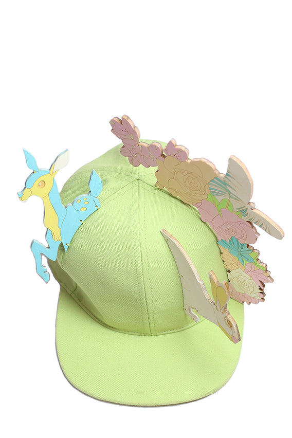 Francesco Ballestrazzi - Green baseball cap with wood silhouette, hand painted