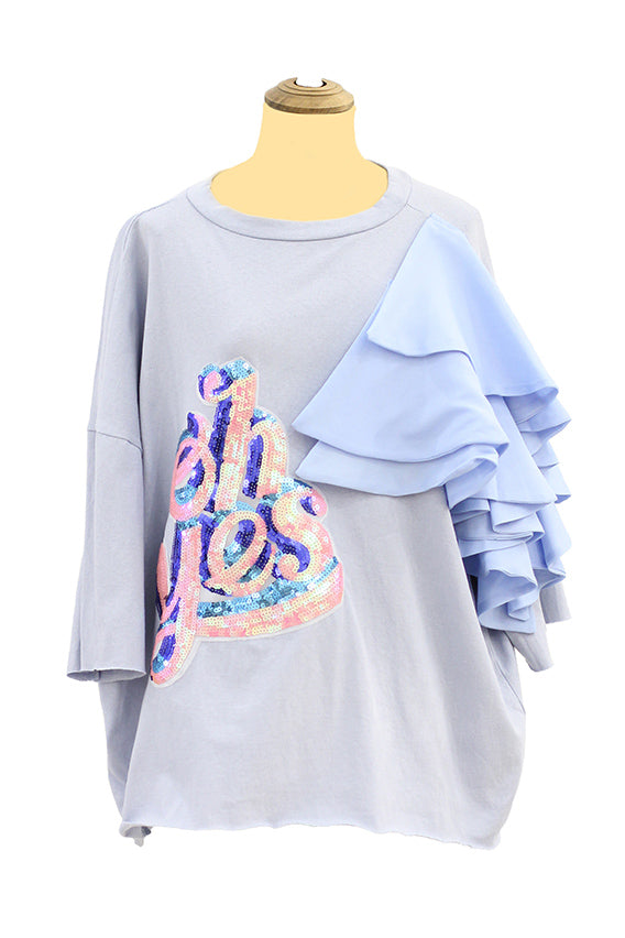 Maxi light blue tees with OH Yes sequence design & ruffles on the shoulder