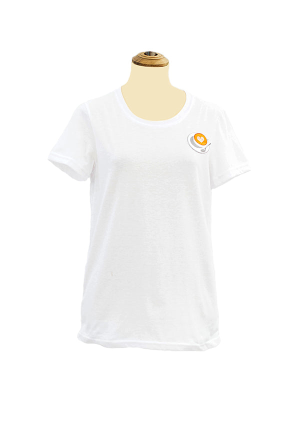 White tees with a coffee cup, saucer & spoon patch
