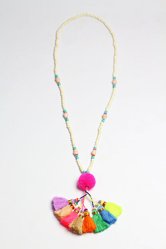 Multi Color Pom Pom Necklace