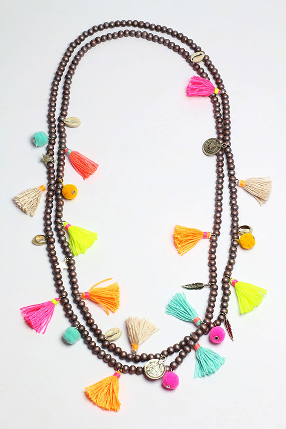 Multi color shell necklace