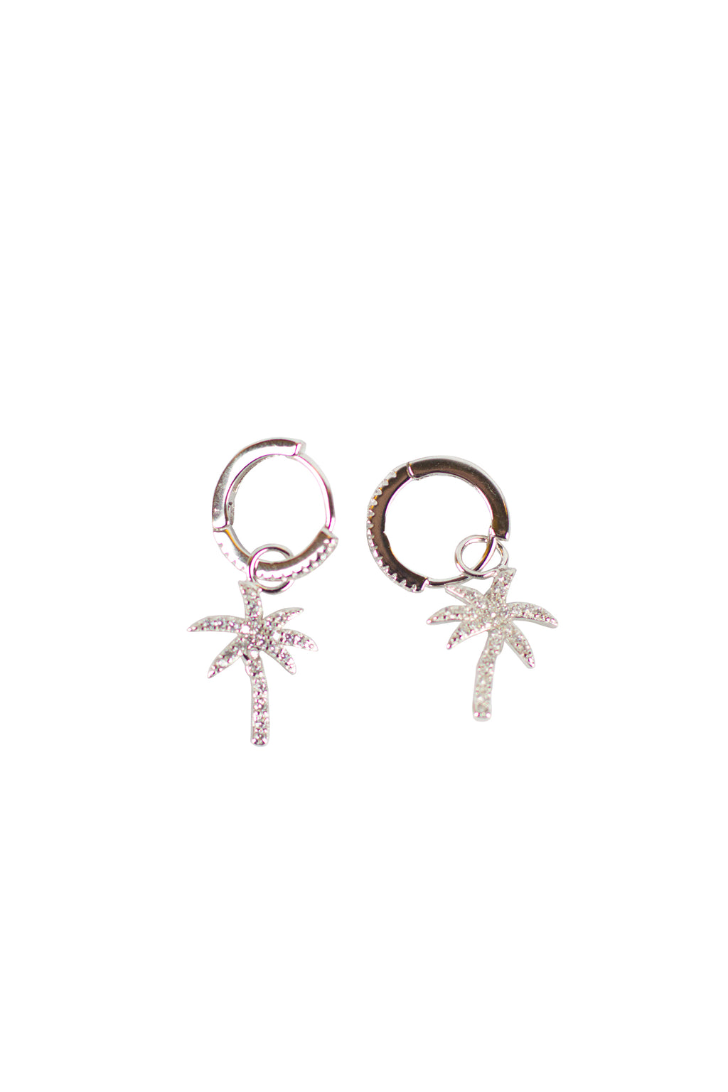Shadow - Silver round earing palm tree w/ stones