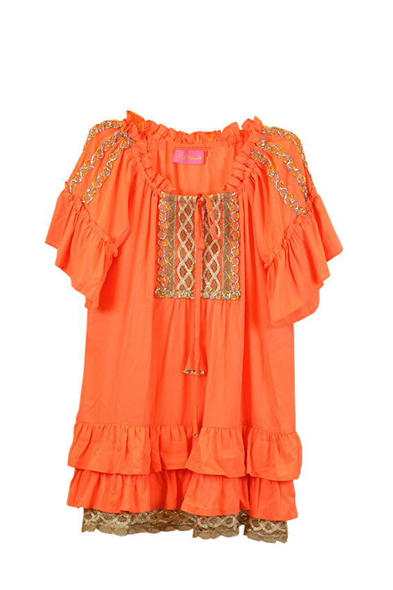 Pkt Designs - CREPE TUNIC WITH JUTE LACE Size Medium