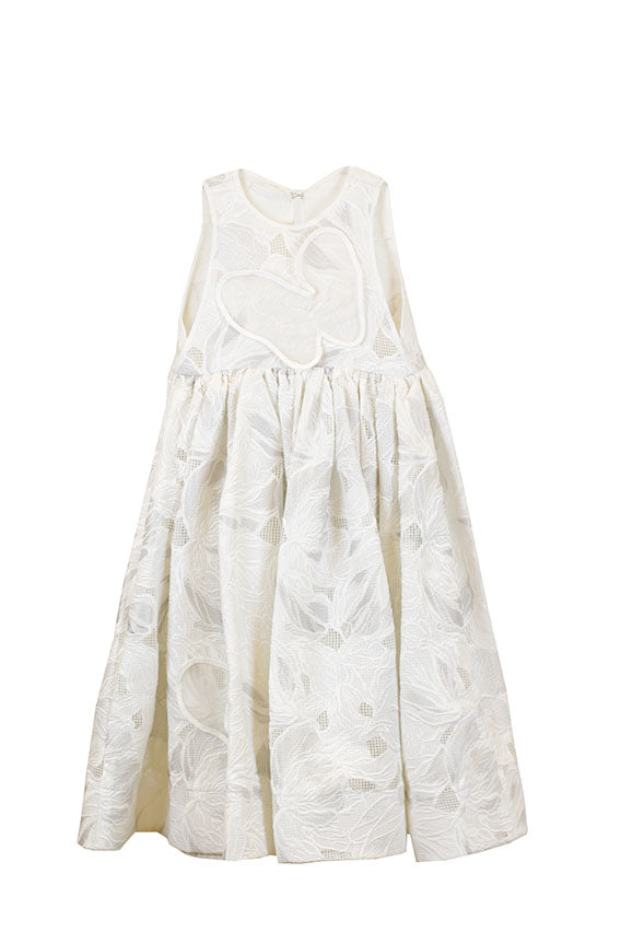 Maticevski - Layla Butterfly Dress White Metallic Embroidery Kids