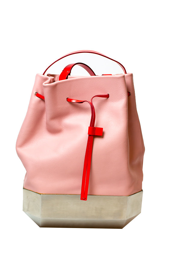 Persephoni - POLYG. BACKPACK  BEIGE, PINK BODY & BLUE, RED STRAPS