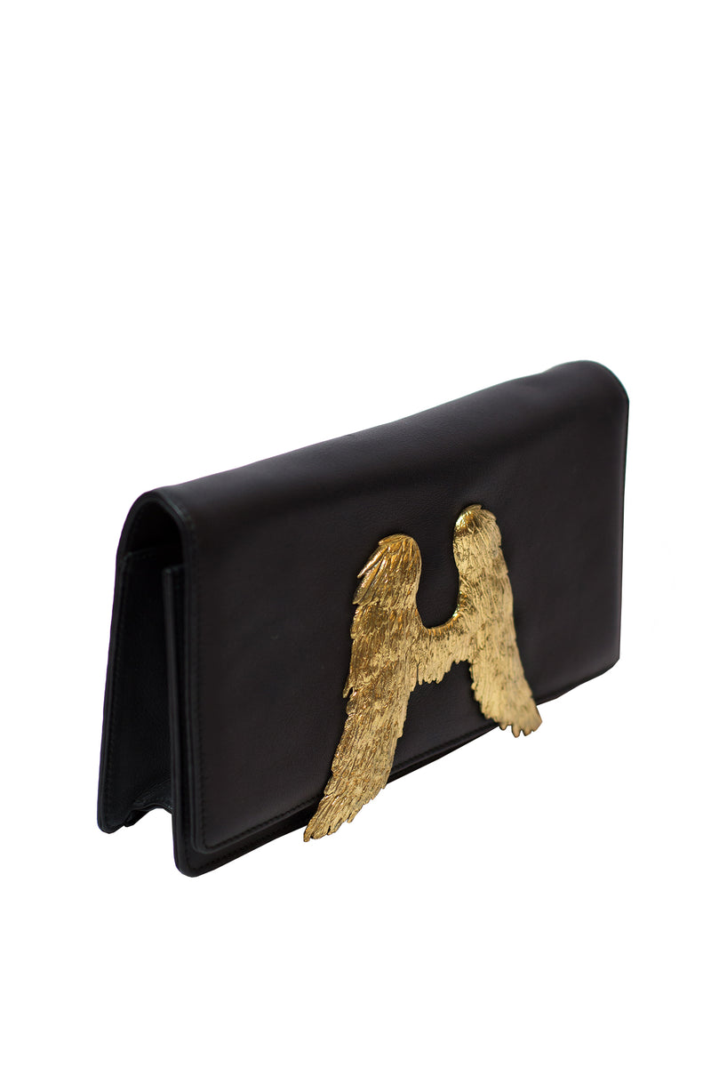 D Max -  Black clutch with Angel wings with black color