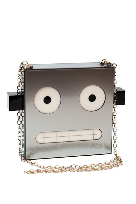 Ashlyn`D - Silver acrylic robot clutch w/removable chain strap