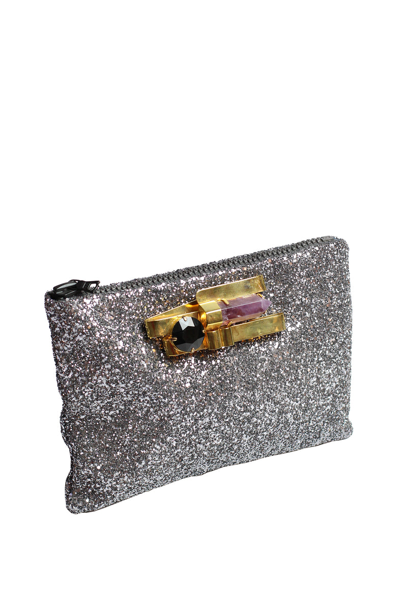 Mawi - Single glitter clutch w/metallic ribbon,amethyst shard &crys