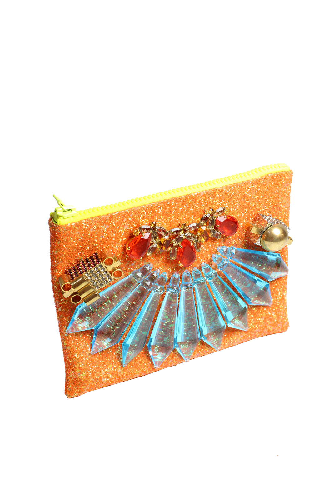 Mawi - Single glitter clutch w/spikes crystal box,crystal teardrops