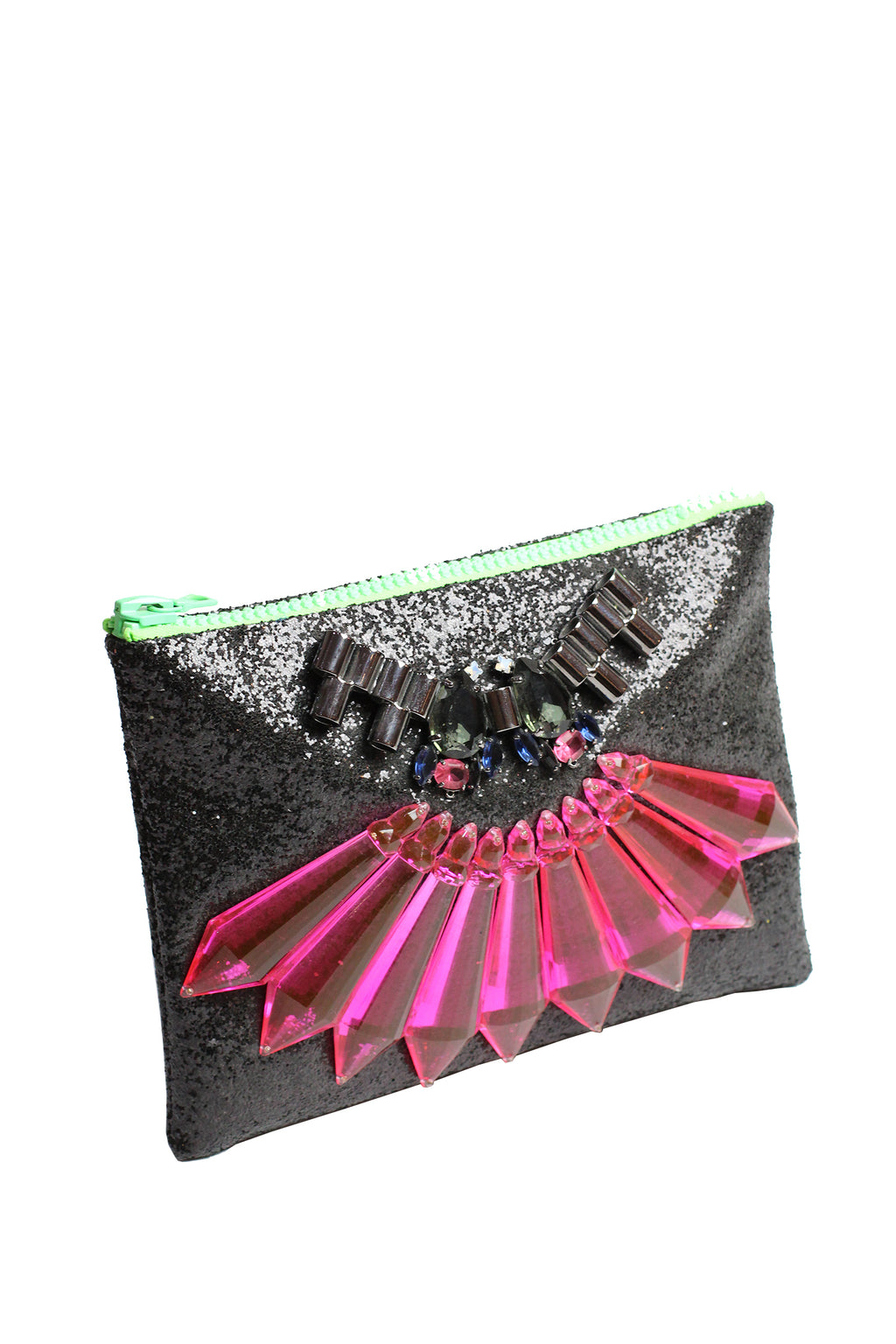 Mawi - Single glitter clutch w/spikes,tubes crystal teardrops