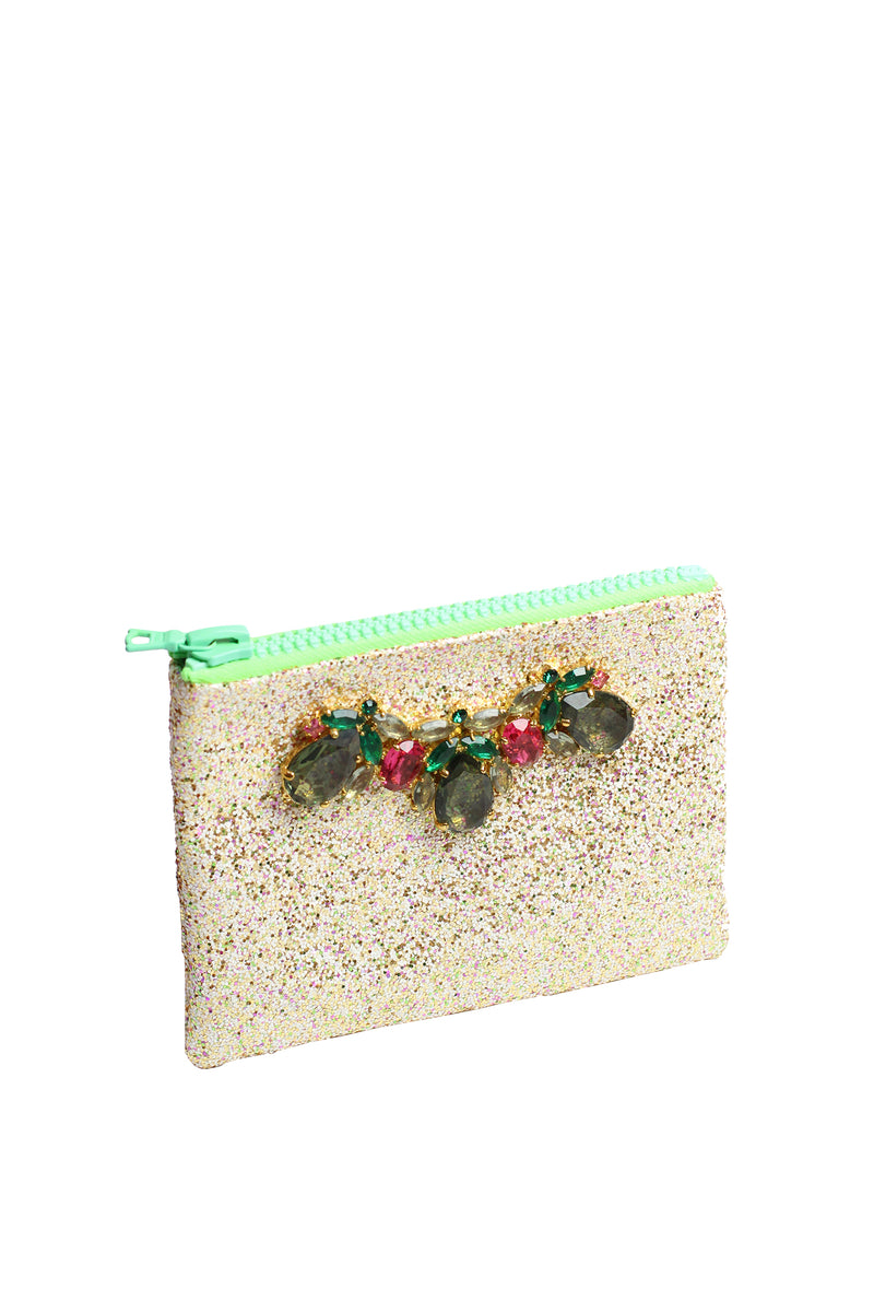 Mawi - Small single glitter clutch w/metal tubes&teardrop crystals2