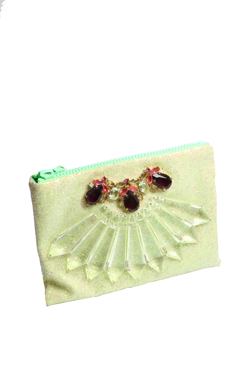 Mawi - Single glitter clutch w/perspex spike,teardrop crystal