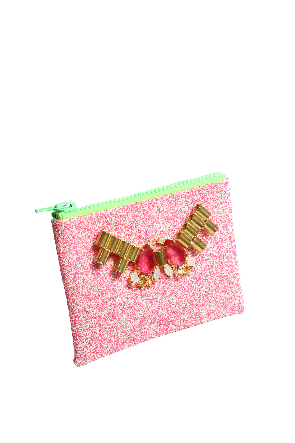Mawi - Small single glitter clutch w/metal tubes&teardrop crystals11