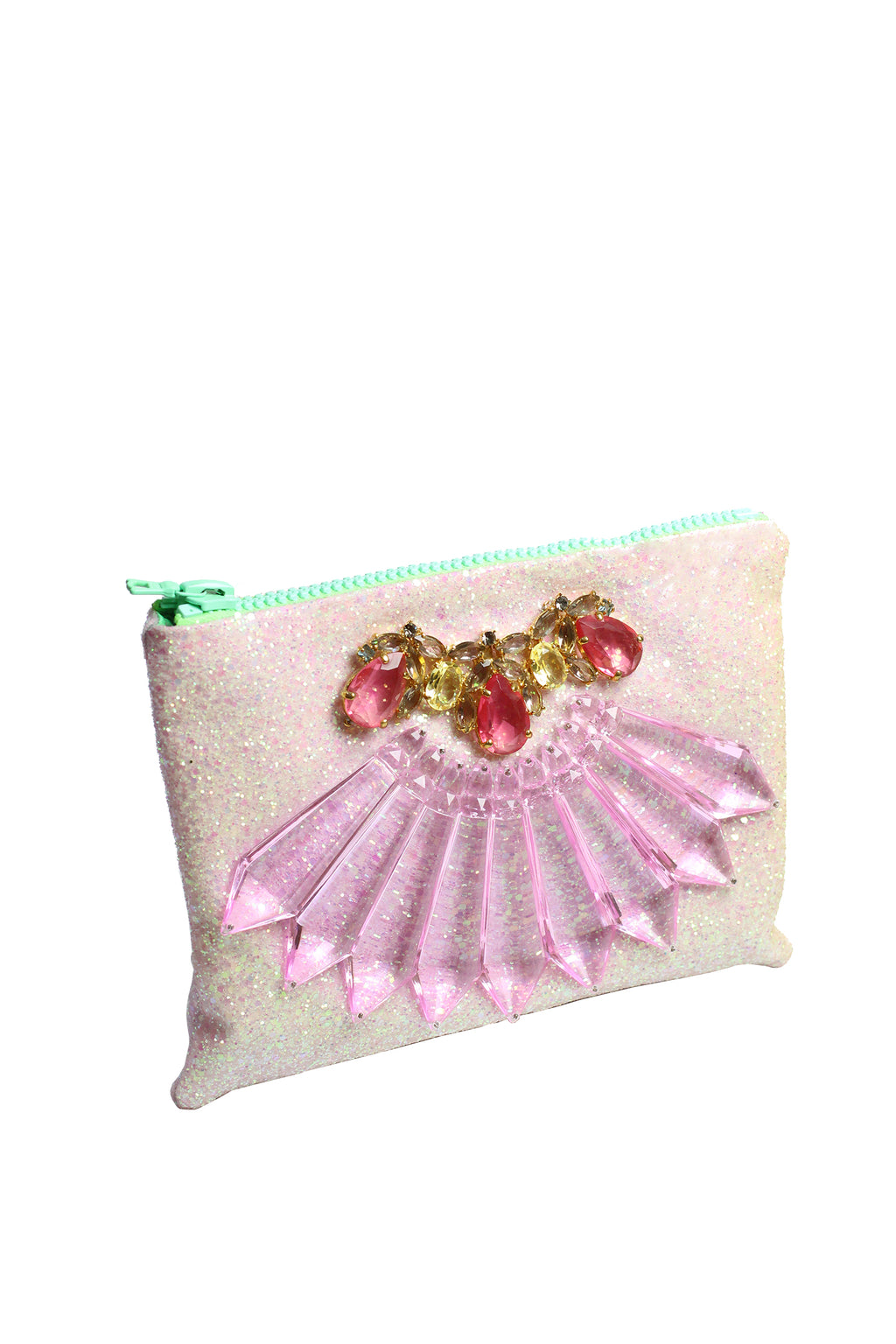 Mawi - Single glitter clutch with perspec spikes teardrop crystals