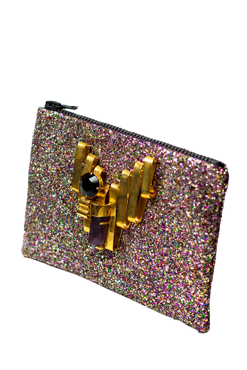 Mawi - Single glitter clutch w/metallic ribbon,amethystshard &cryst