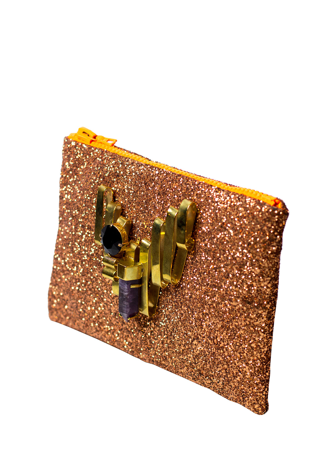 Mawi - Single glitter clutch w/metallic ribbon,amethystshard &cryst.