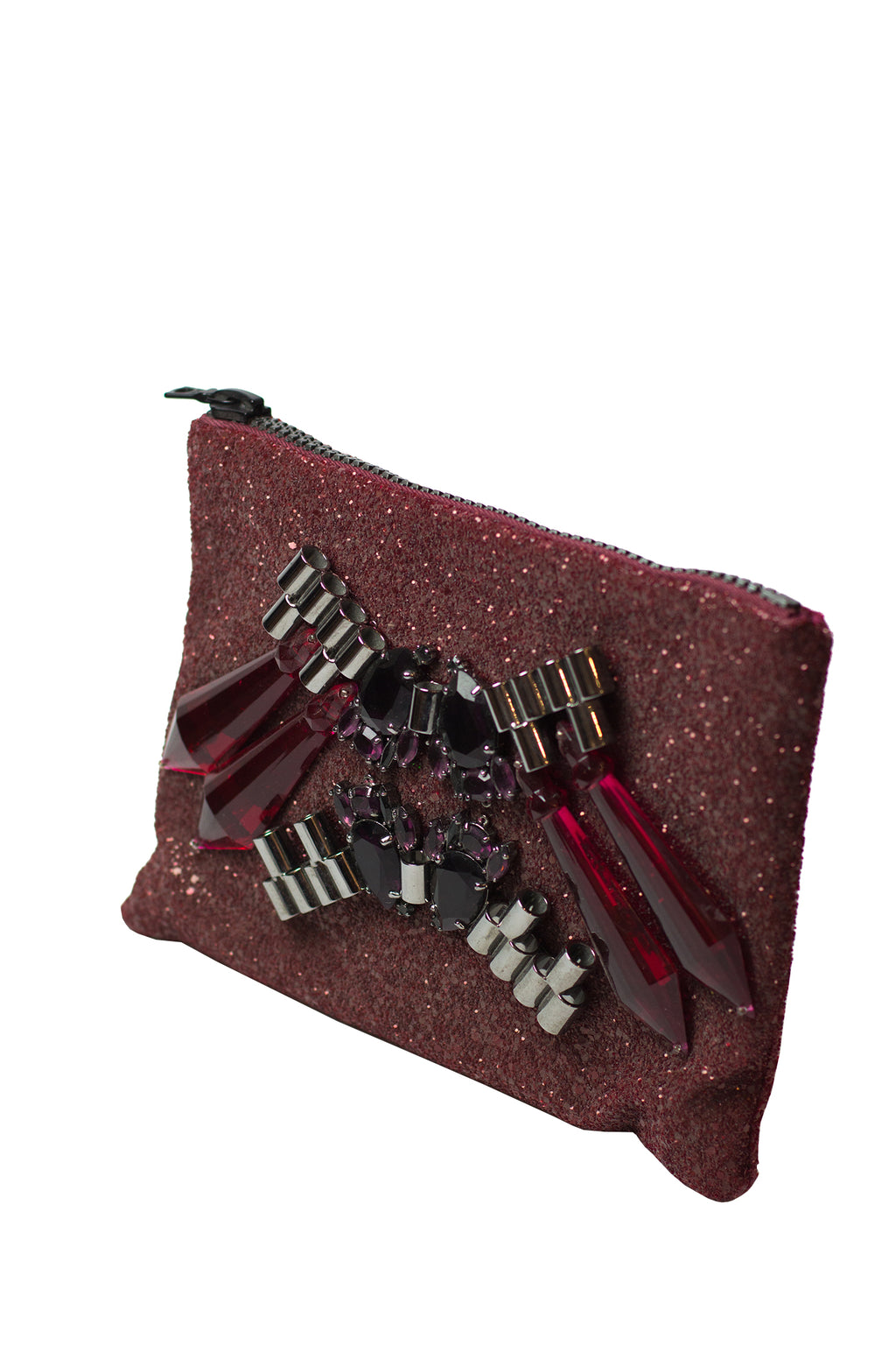 Mawi - Single glitter clutch w/tubes,perspex spike & teardropcrystl
