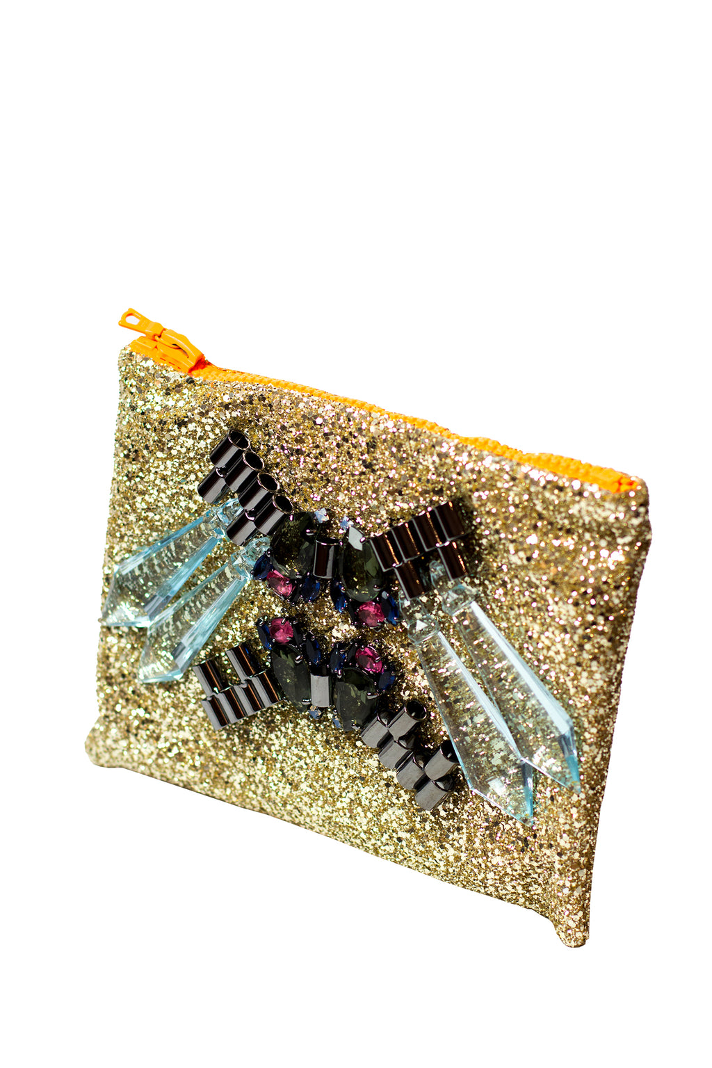 Mawi - Single glitter clutch w/tubes,perspex spikes & teardropcryst