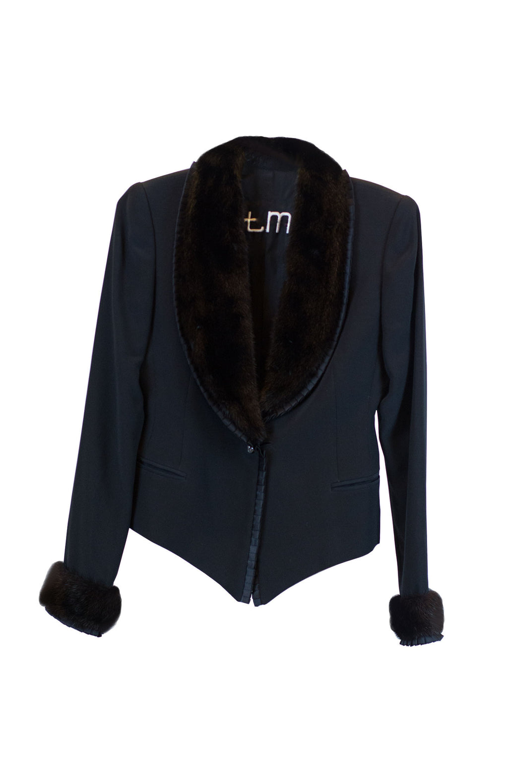 Toni Miranda - Black Jacket Made Of Silk Crepe With Pleates in satin and Black Mink Size Small