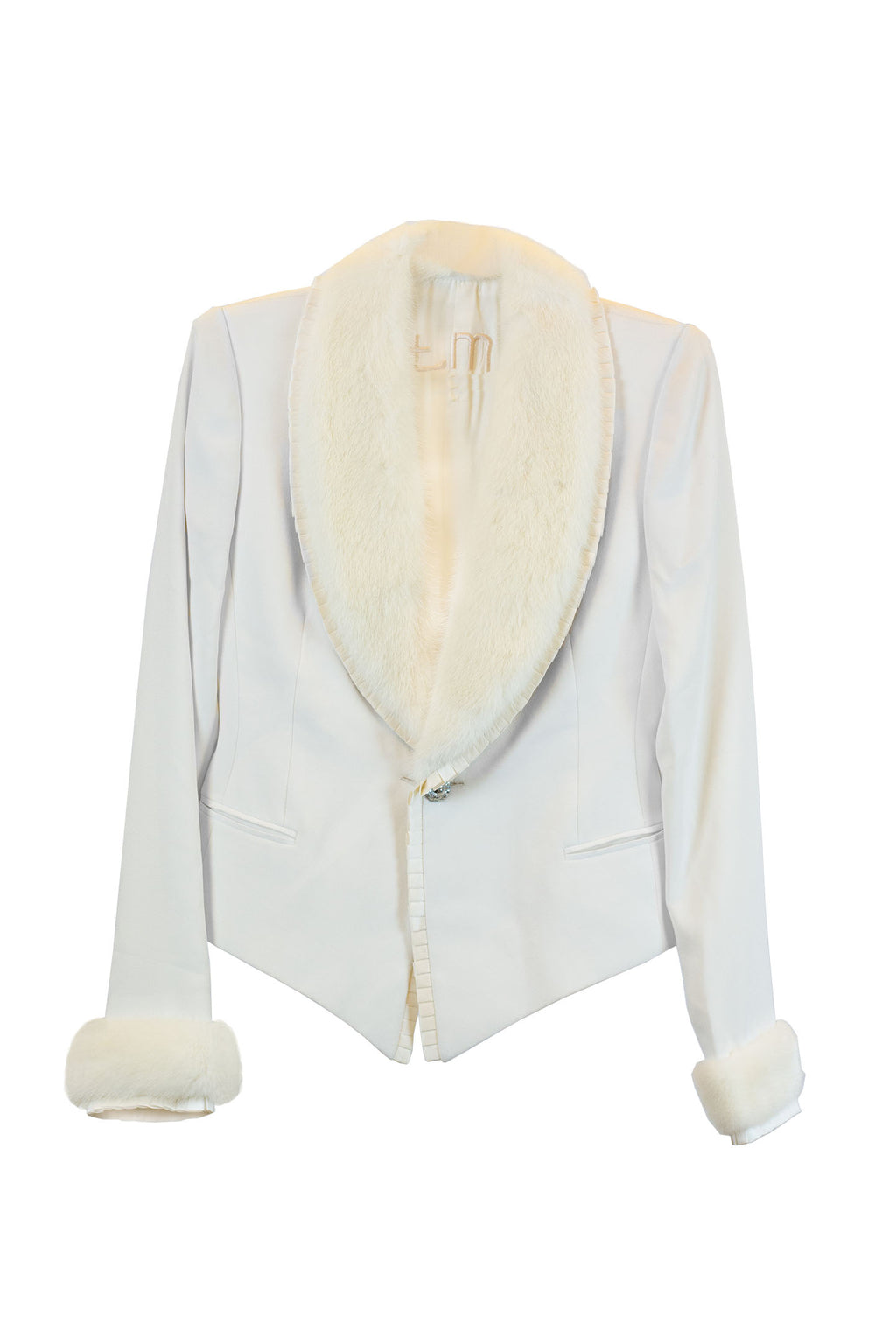 Toni Miranda - Raw jacket made of silk crepe with pleates in satin and white mink Size Small
