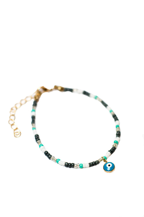 Multi color beads bracelet with blue eye pendant