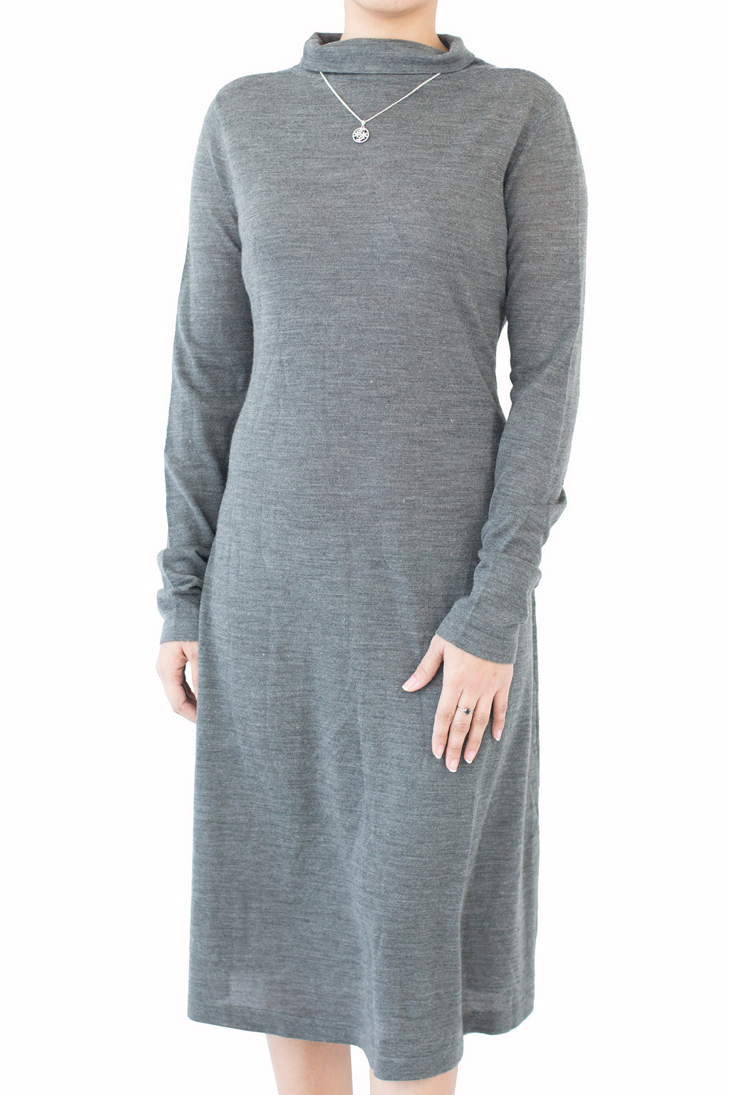 Kiswah - Dark Grey Turtle Neck Dress With Belt