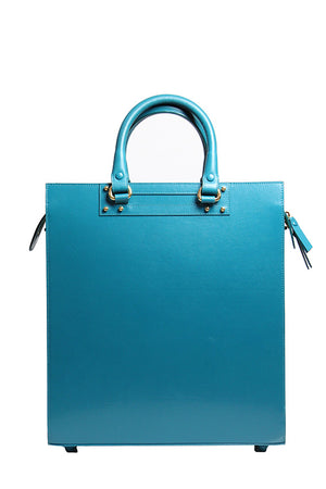 Mayrafedane - Blue leather bag with handheld handles and detachable long strap