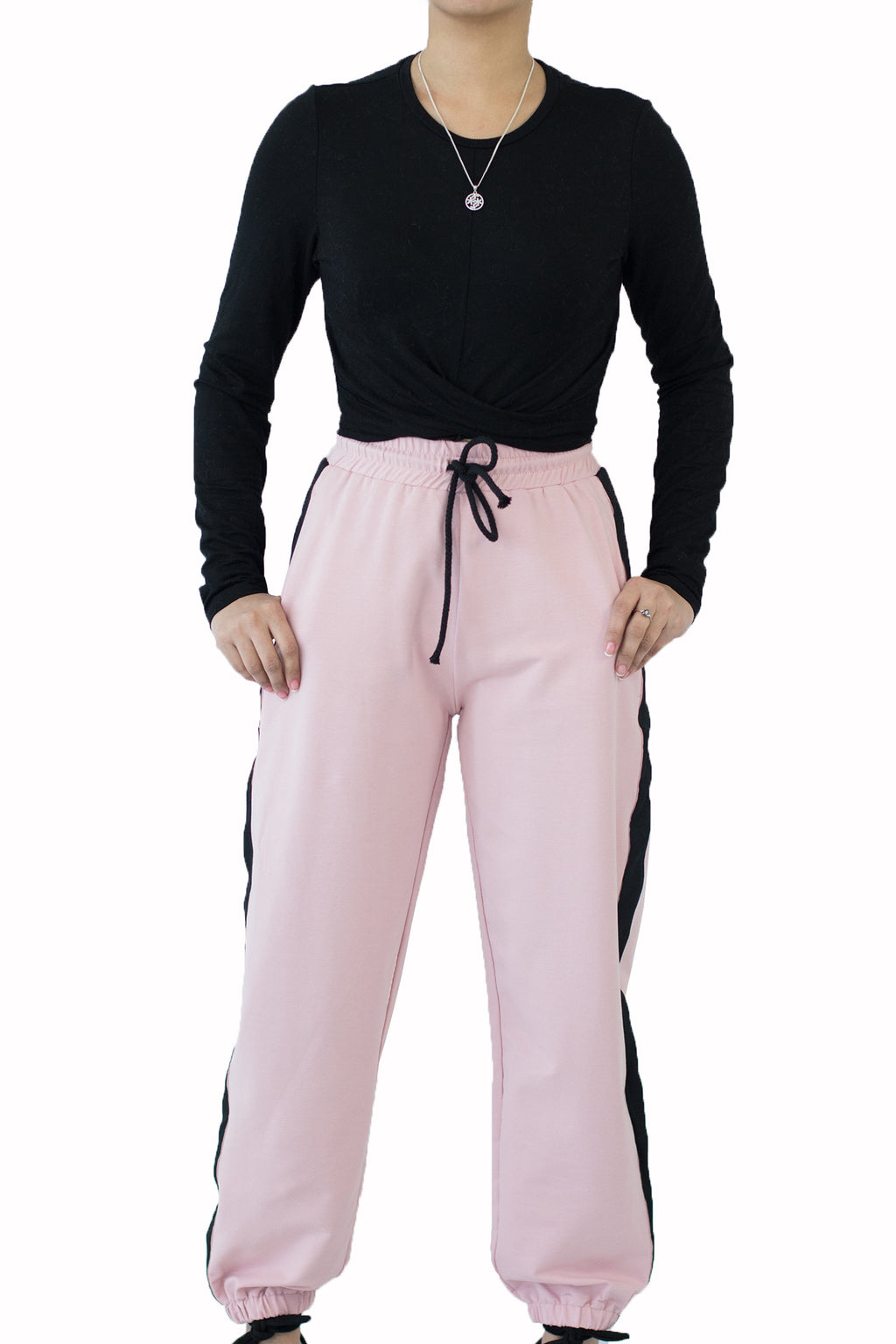 Fried Chicken - Pink jogging pants in black strap