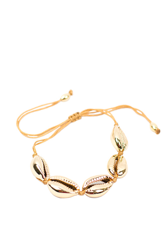 Gold thread gold painted shell bracelet