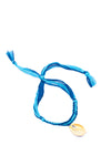 Blue thread painted blue shell bracelet