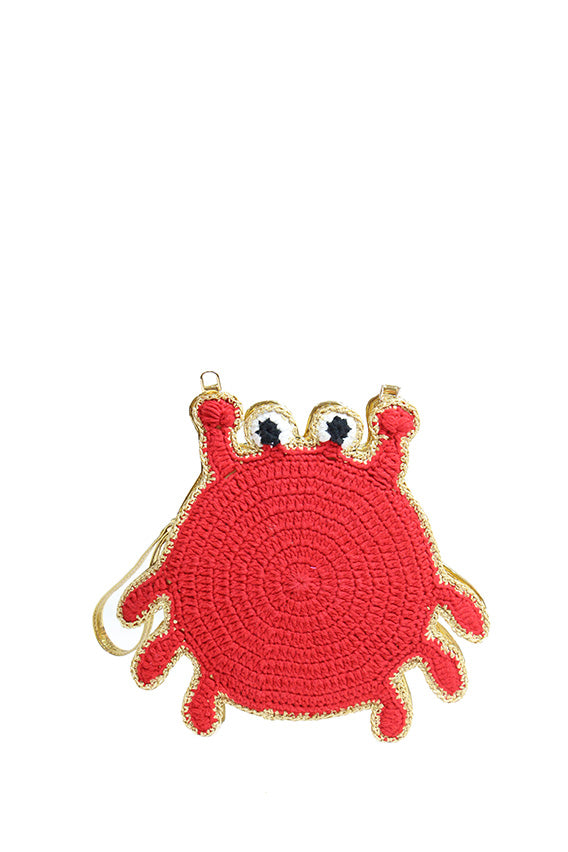 Begart - Crab shape clutch (faux leather and red thread crochet lining)