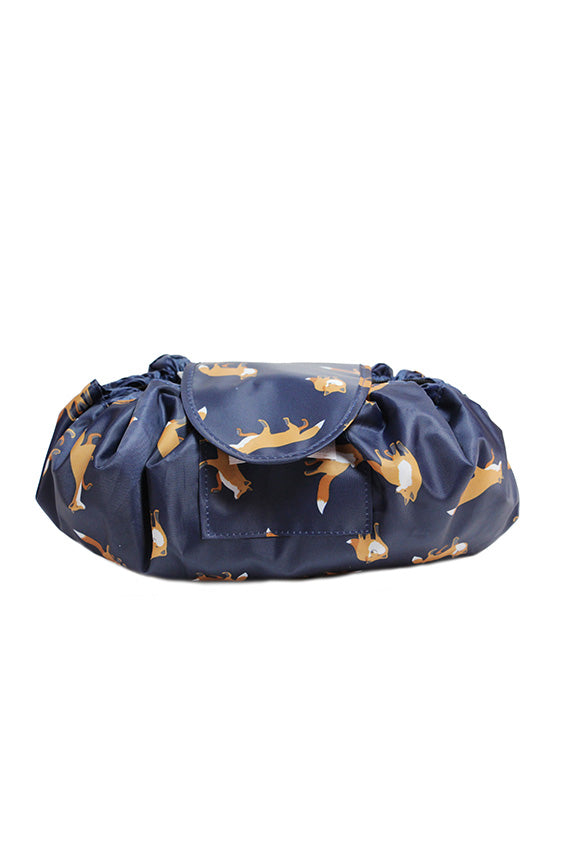 Blue fox printed make up bag