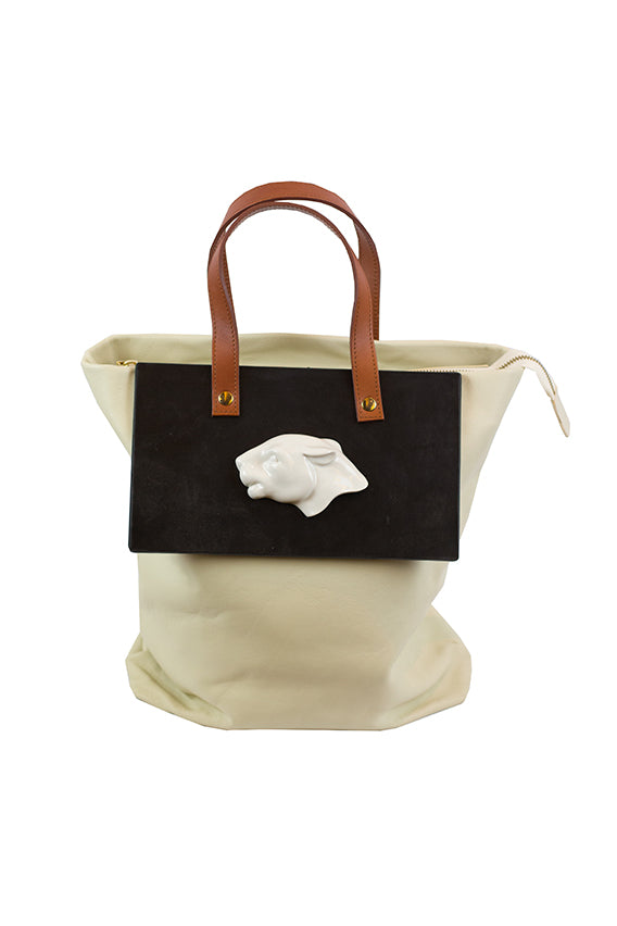 Andress Gallardo - Tote panther head ecru