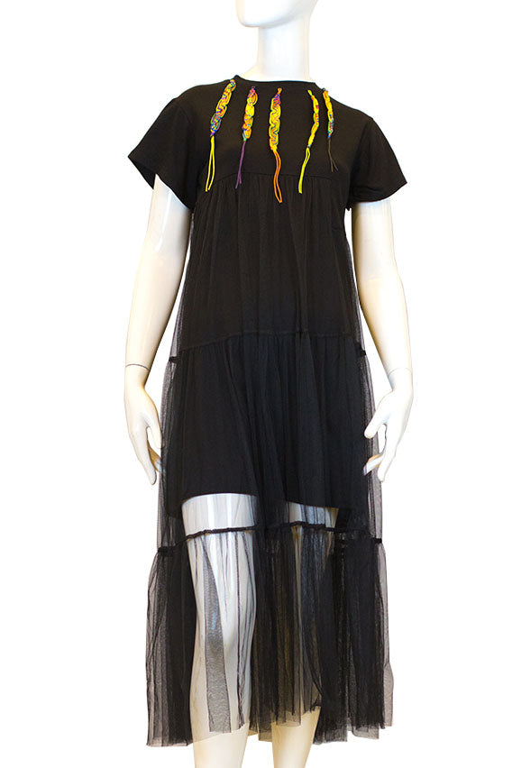 Fried chicken - Black dress with see-through and friendship bracelet design on the neck