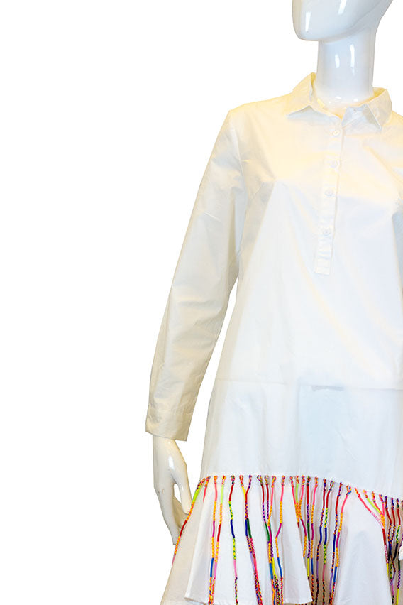 Fried Chicken - White polo dress with friendship bracelet fringes