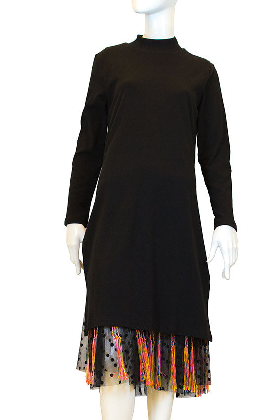 Fried chicken - Black long sleeve dress with see-through polka dot and friendship bracelet