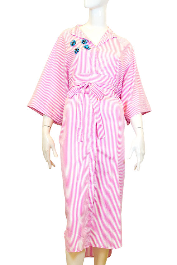 Kiswah - Stripe pink long polo dress with belt