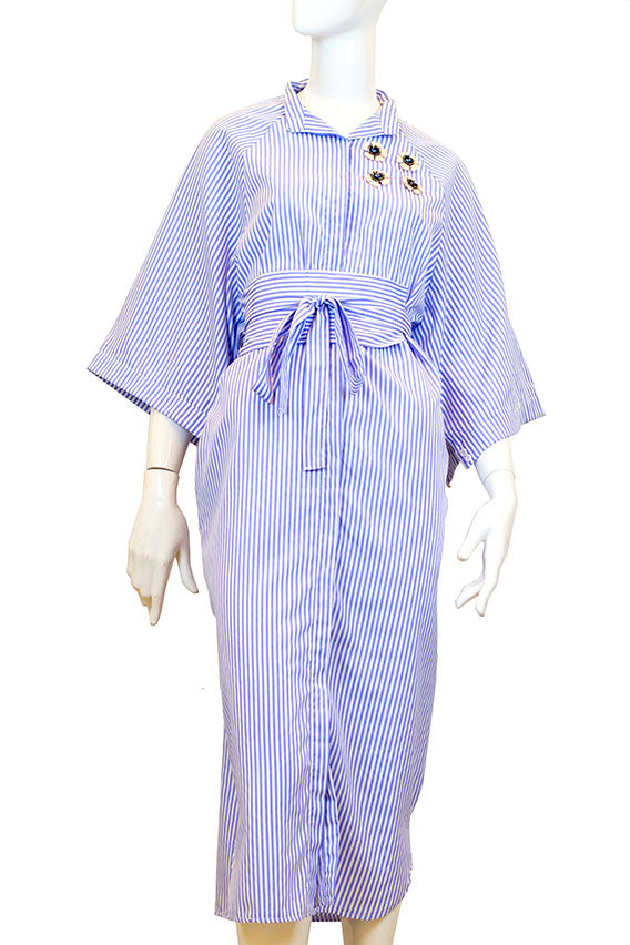 Stripe blue long polo dress with belt
