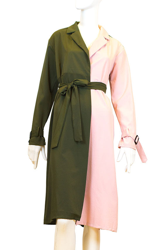 Kiswah - Pink / Green coat dress with belt