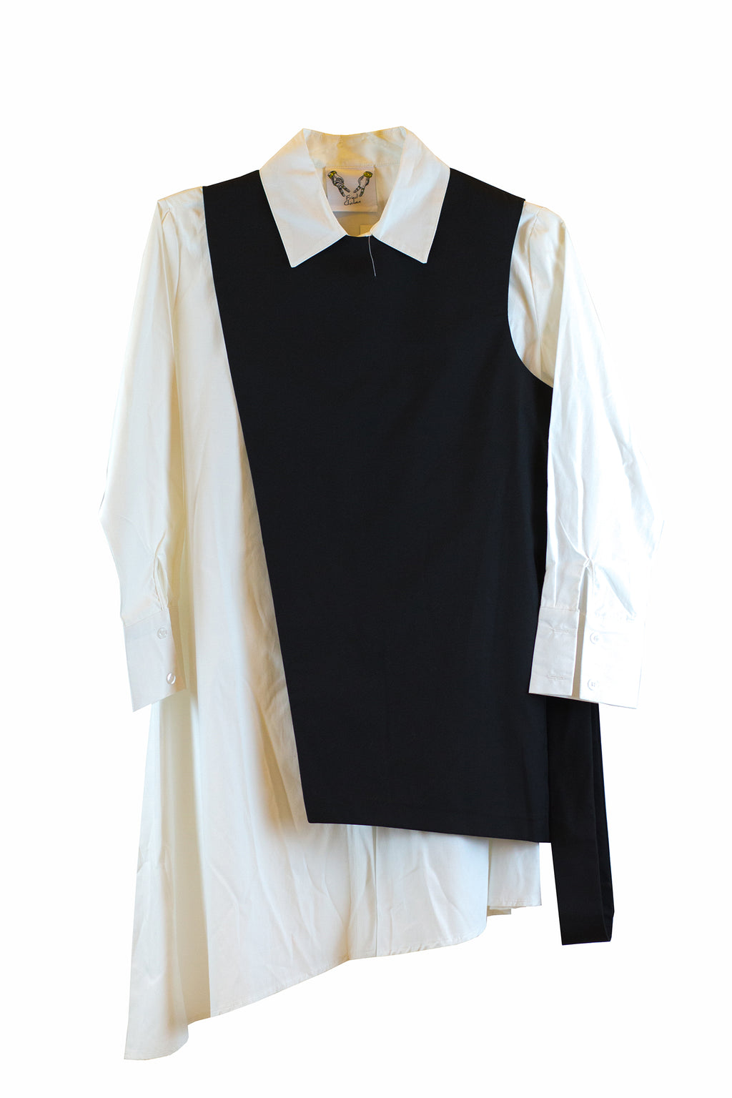 Black sleeveless top with belt and white maxi long sleeve polo
