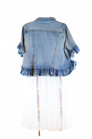 Denim jacket with white see-through