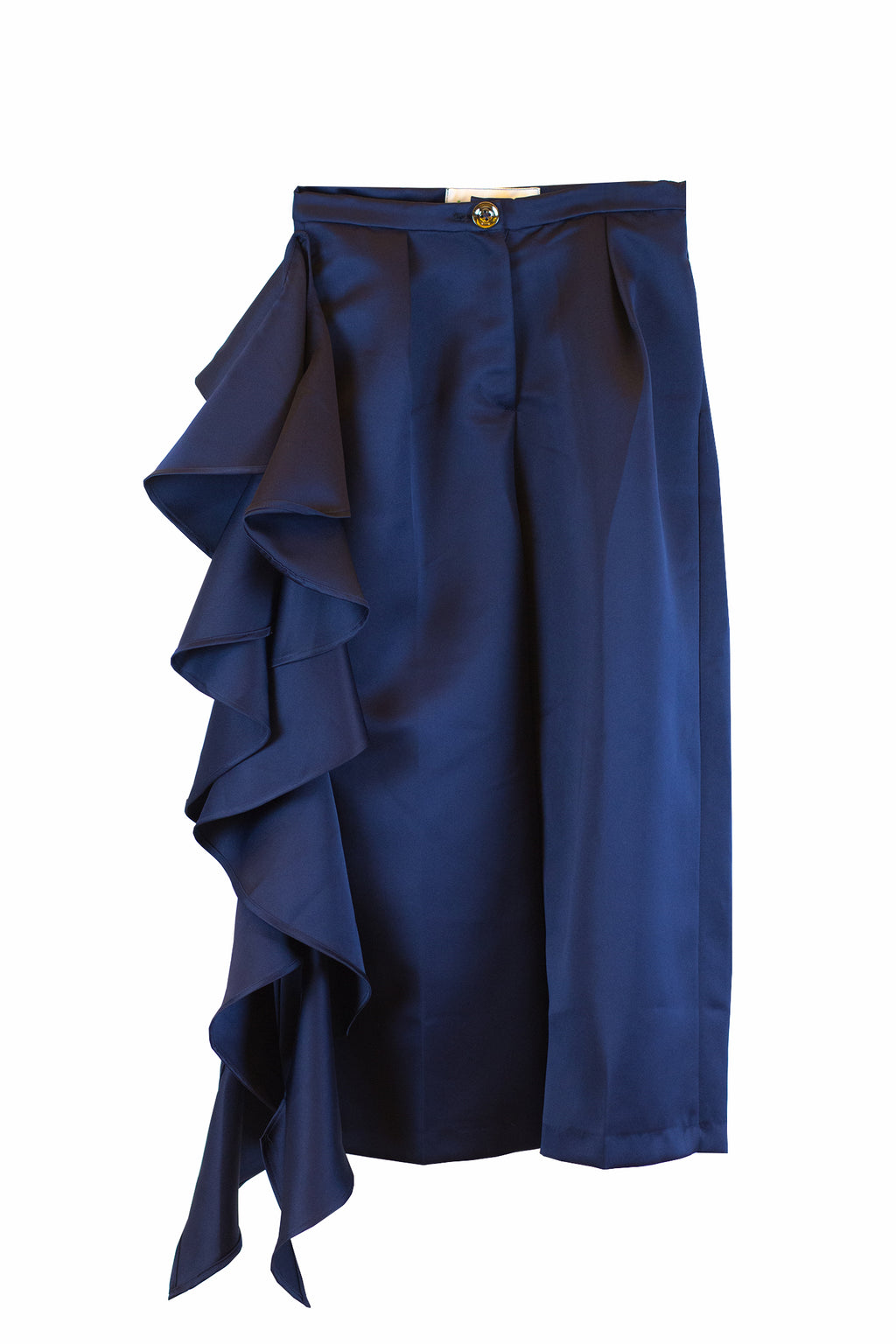 Blue trouser with side ruffles