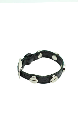 CC Skye - Italian leather screw bracelet with silver screws