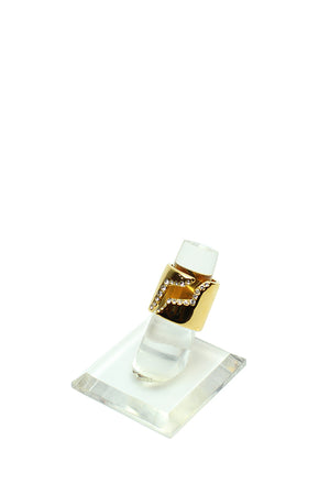 CC Skye -Chunky cut out ring, size 6 & 7 gold