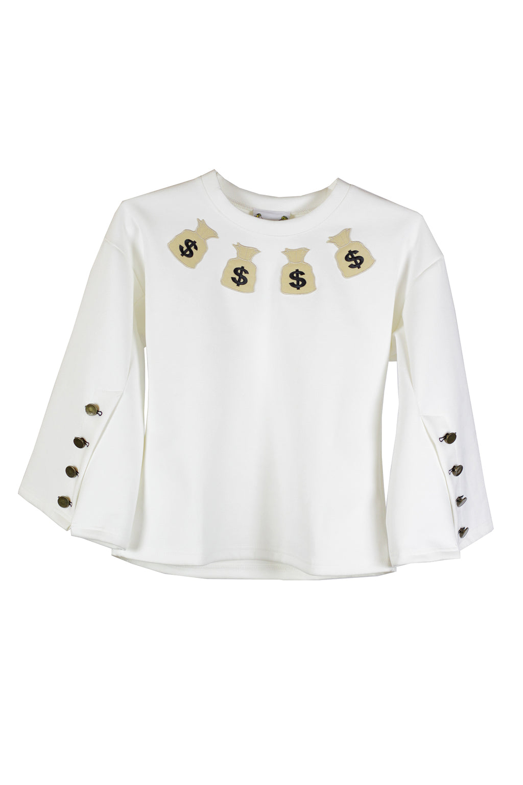 FRIED CHICKEN - White blouse with buttons on the arm and dollar patch