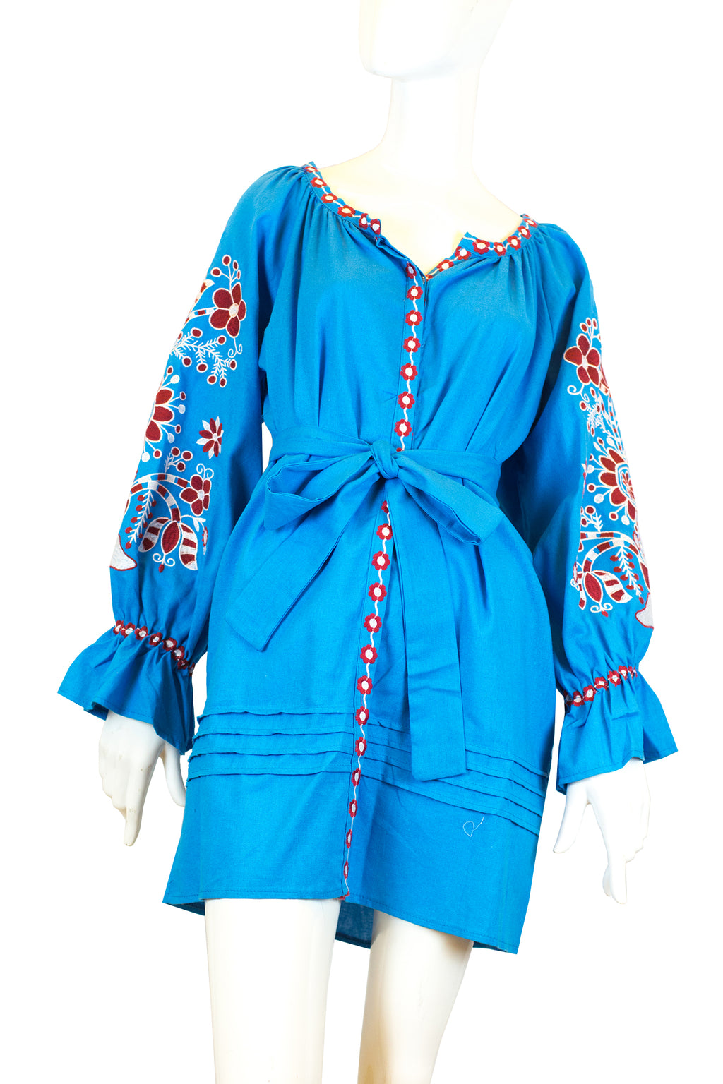Kiswah - Blue long sleeve blouse with belt & embroidery design