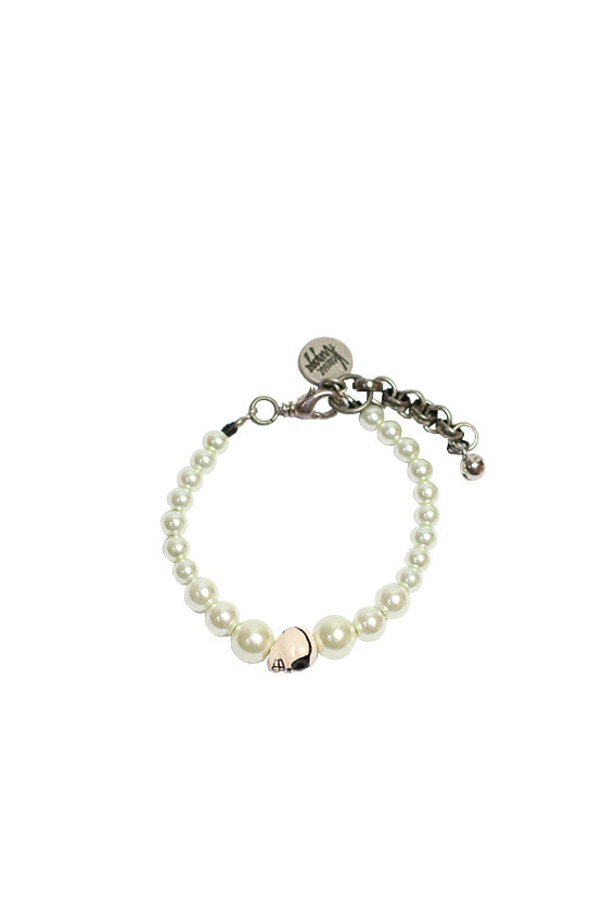 Venessa Arizaga - Treasured pearls bracelet in glass pearls with ceramic skull and antique silver plated hardware