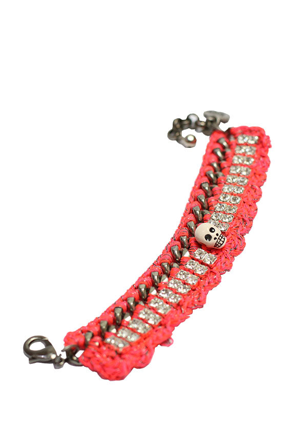 Venessa Arizaga - Scarlet Begonias Bracelet antique silver plated brass chain w/ neon pink crochet thread
