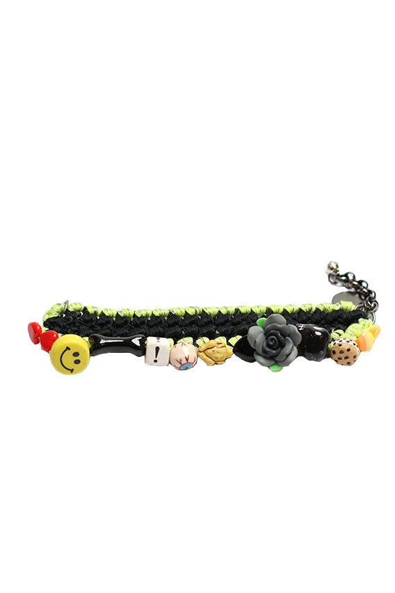 Venessa Arizaga- Love Shack Bracelet matte black plated brass  chain w/ neon yellow & black threadwork