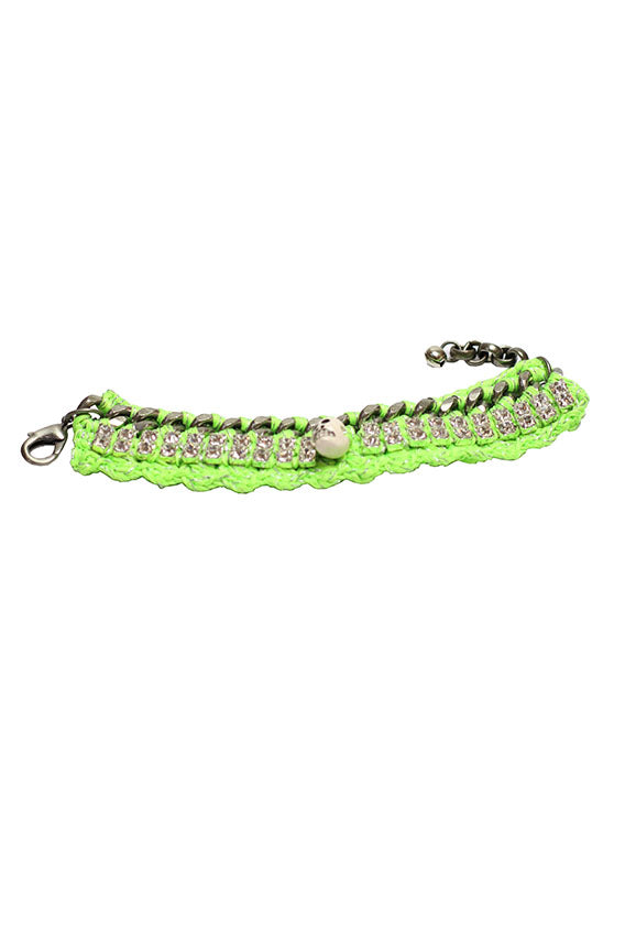 Venessa Arrizaga - Esmeralda Bracelet 6 antique silver plated brass  chain w/ neon green mأ©lange crochet threadwork